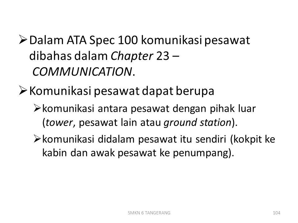  Dalam ATA Spec 100 komunikasi pesawat dibahas dalam Chapter 23 – COMMUNICATION.