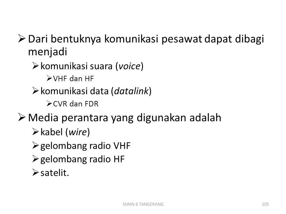  Dari bentuknya komunikasi pesawat dapat dibagi menjadi  komunikasi suara (voice)  VHF dan HF  komunikasi data (datalink)  CVR dan FDR  Media perantara yang digunakan adalah  kabel (wire)  gelombang radio VHF  gelombang radio HF  satelit.