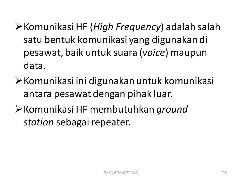  Komunikasi HF (High Frequency) adalah salah satu bentuk komunikasi yang digunakan di pesawat, baik untuk suara (voice) maupun data.