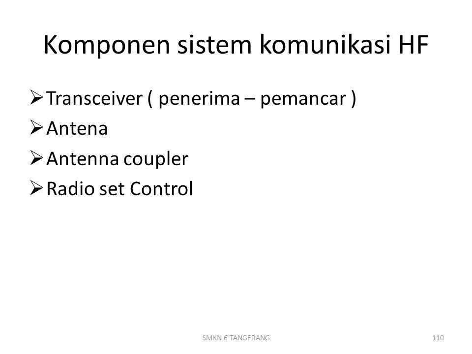 Komponen sistem komunikasi HF  Transceiver ( penerima – pemancar )  Antena  Antenna coupler  Radio set Control 110SMKN 6 TANGERANG