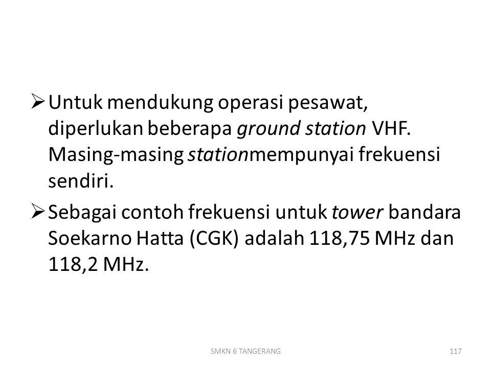  Untuk mendukung operasi pesawat, diperlukan beberapa ground station VHF.