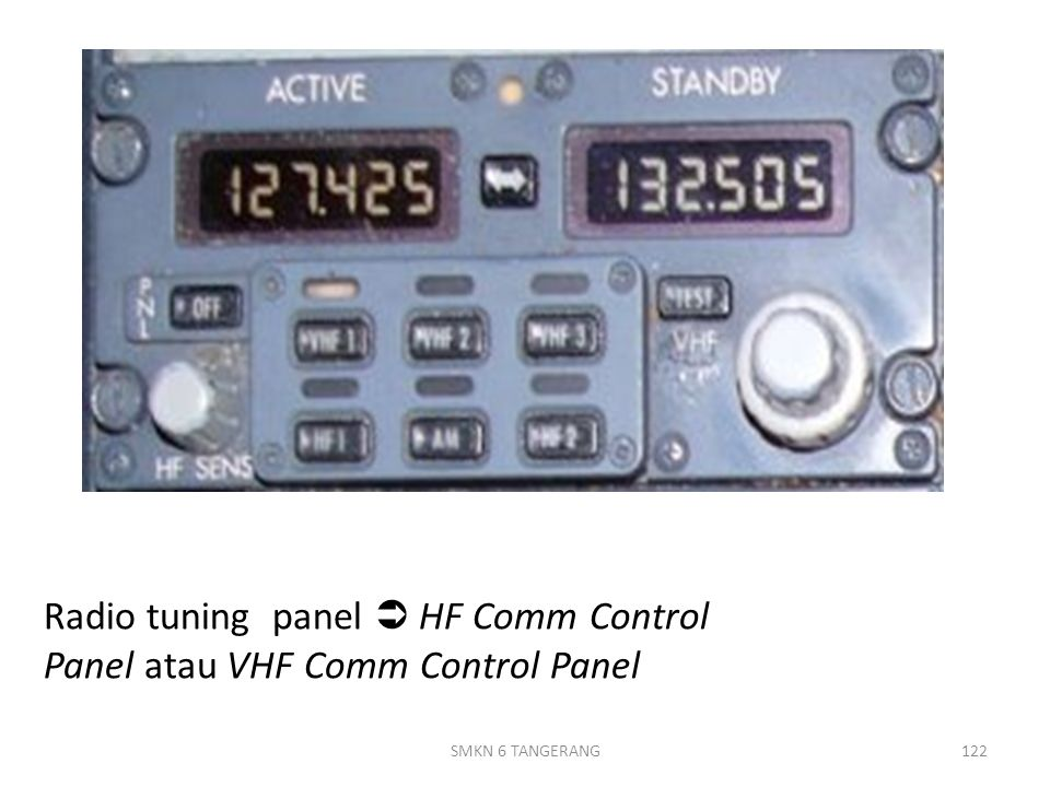 Radio tuning panel  HF Comm Control Panel atau VHF Comm Control Panel 122SMKN 6 TANGERANG