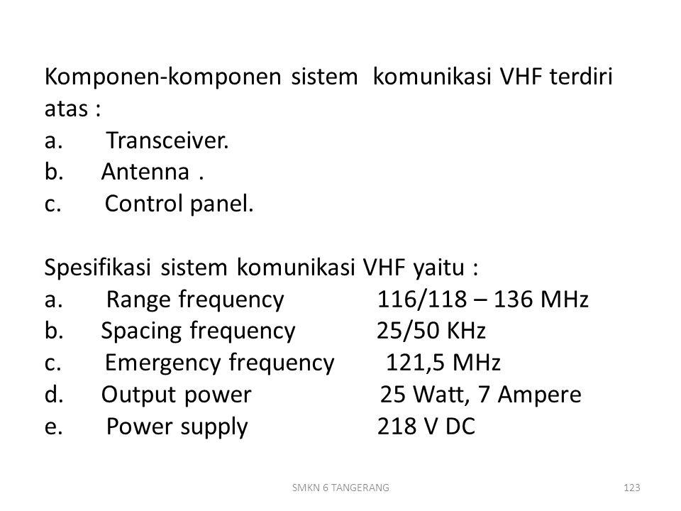Komponen-komponen sistem komunikasi VHF terdiri atas : a.