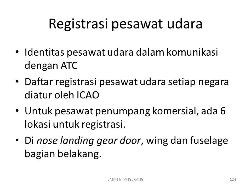Registrasi pesawat udara Identitas pesawat udara dalam komunikasi dengan ATC Daftar registrasi pesawat udara setiap negara diatur oleh ICAO Untuk pesawat penumpang komersial, ada 6 lokasi untuk registrasi.