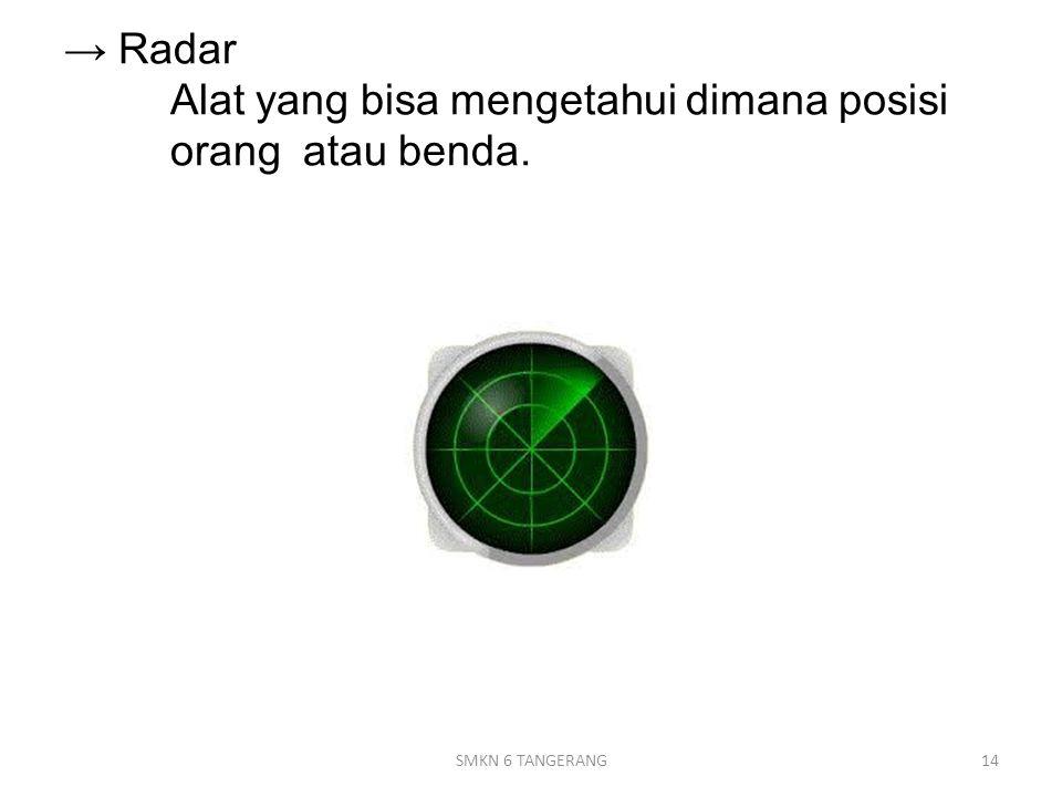 → Radar Alat yang bisa mengetahui dimana posisi orang atau benda. 14SMKN 6 TANGERANG