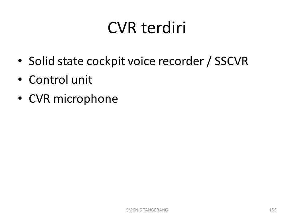 CVR terdiri Solid state cockpit voice recorder / SSCVR Control unit CVR microphone 153SMKN 6 TANGERANG