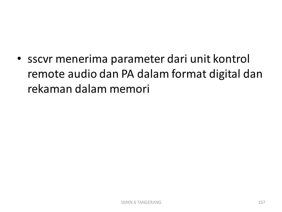 sscvr menerima parameter dari unit kontrol remote audio dan PA dalam format digital dan rekaman dalam memori 157SMKN 6 TANGERANG