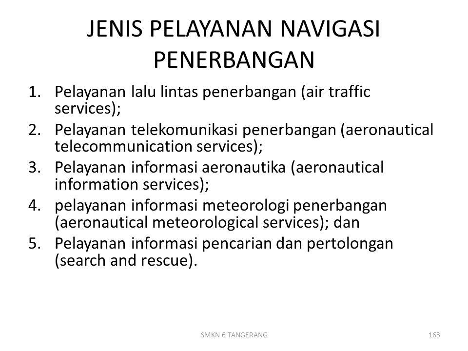 JENIS PELAYANAN NAVIGASI PENERBANGAN 1.Pelayanan lalu lintas penerbangan (air traffic services); 2.Pelayanan telekomunikasi penerbangan (aeronautical telecommunication services); 3.Pelayanan informasi aeronautika (aeronautical information services); 4.pelayanan informasi meteorologi penerbangan (aeronautical meteorological services); dan 5.Pelayanan informasi pencarian dan pertolongan (search and rescue).