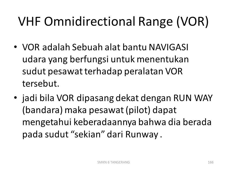 VHF Omnidirectional Range (VOR) VOR adalah Sebuah alat bantu NAVIGASI udara yang berfungsi untuk menentukan sudut pesawat terhadap peralatan VOR tersebut.