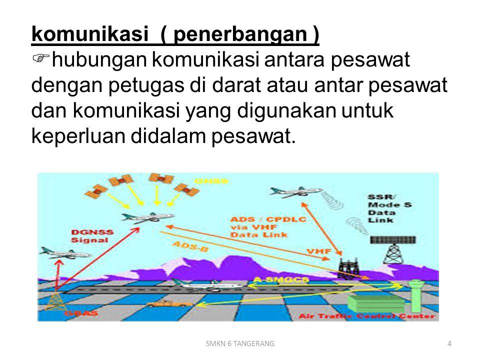 Komunikasi VHF  Komunikasi VHF ( Very High Frequency) adalah komunikasi utama yang digunakan di pesawat, untuk berhubungan dengan pihak luar (tower atau pesawat lain).Very High Frequency  Komunikasi VHF dapat dipakai untuk komunikasi suara (voice) maupun data.