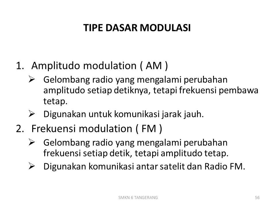 TIPE DASAR MODULASI 1.Amplitudo modulation ( AM )  Gelombang radio yang mengalami perubahan amplitudo setiap detiknya, tetapi frekuensi pembawa tetap.