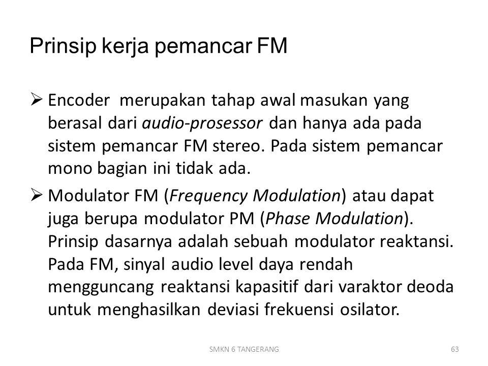 Prinsip kerja pemancar FM  Encoder merupakan tahap awal masukan yang berasal dari audio-prosessor dan hanya ada pada sistem pemancar FM stereo.