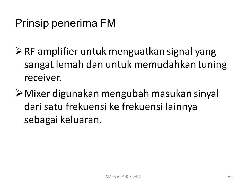 Prinsip penerima FM  RF amplifier untuk menguatkan signal yang sangat lemah dan untuk memudahkan tuning receiver.