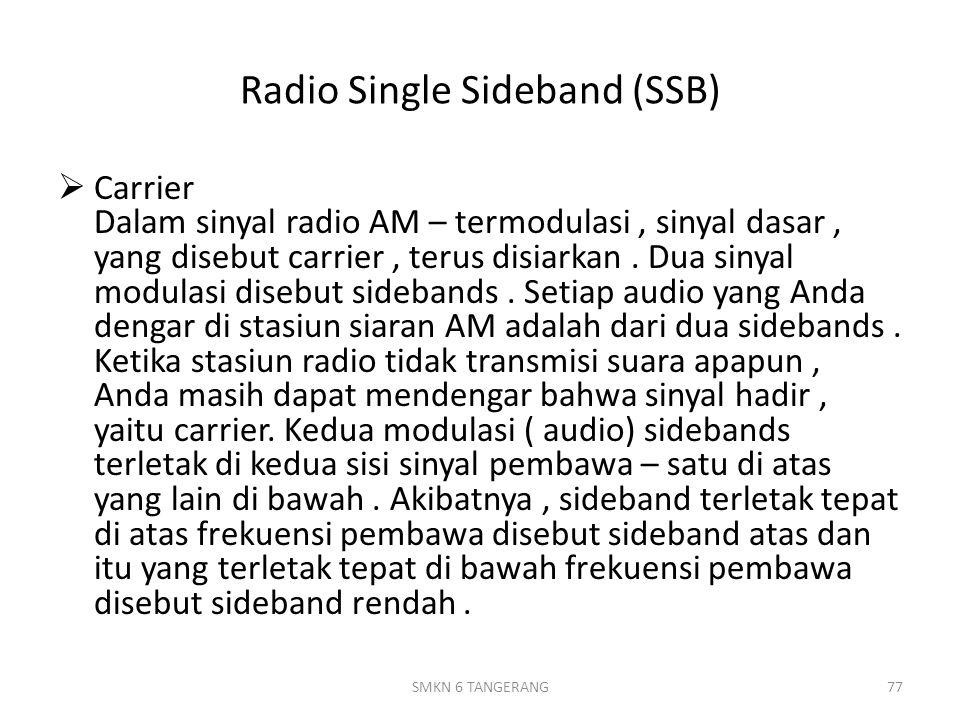Radio Single Sideband (SSB)  Carrier Dalam sinyal radio AM – termodulasi, sinyal dasar, yang disebut carrier, terus disiarkan.