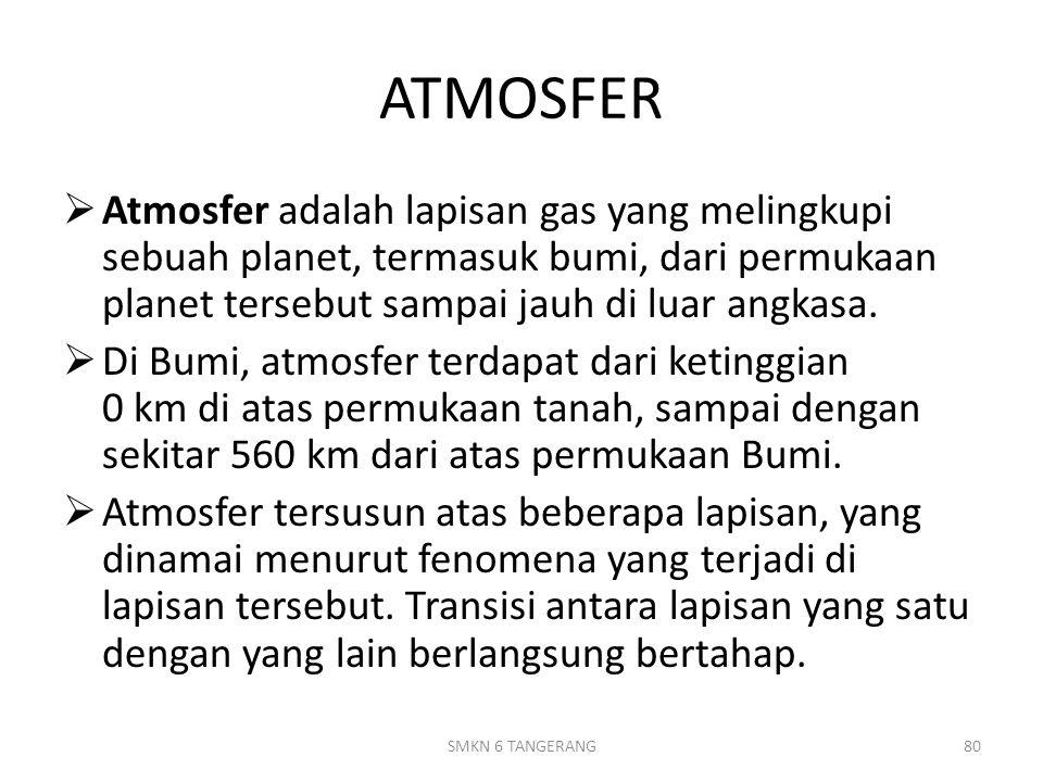 ATMOSFER  Atmosfer adalah lapisan gas yang melingkupi sebuah planet, termasuk bumi, dari permukaan planet tersebut sampai jauh di luar angkasa.