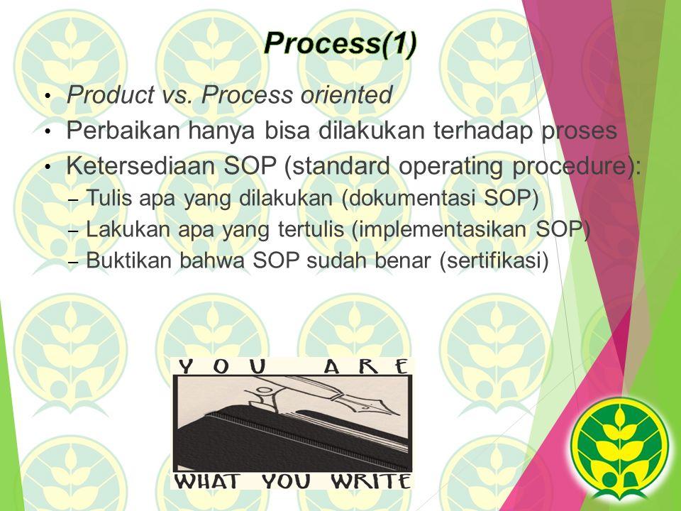 Product vs. Process oriented Perbaikan hanya bisa dilakukan terhadap proses Ketersediaan SOP (standard operating procedure): – Tulis apa yang dilakuka