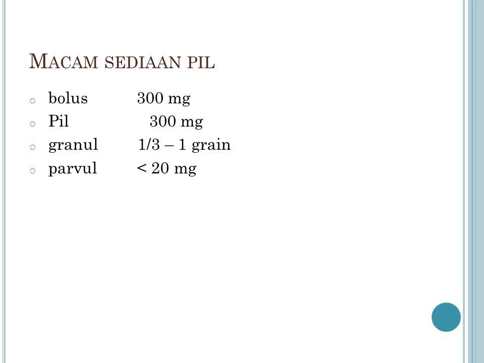 M ACAM SEDIAAN PIL o bolus 300 mg o Pil 300 mg o granul 1/3 – 1 grain o parvul < 20 mg