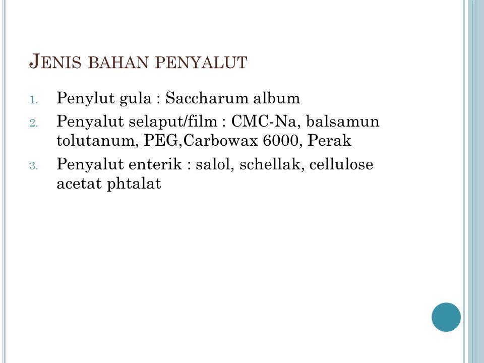 J ENIS BAHAN PENYALUT 1.Penylut gula : Saccharum album 2.