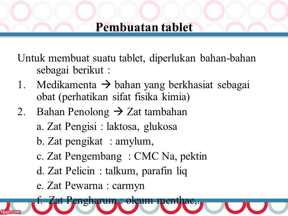 Pembuatan tablet Untuk membuat suatu tablet, diperlukan bahan-bahan sebagai berikut : 1.Medikamenta  bahan yang berkhasiat sebagai obat (perhatikan s
