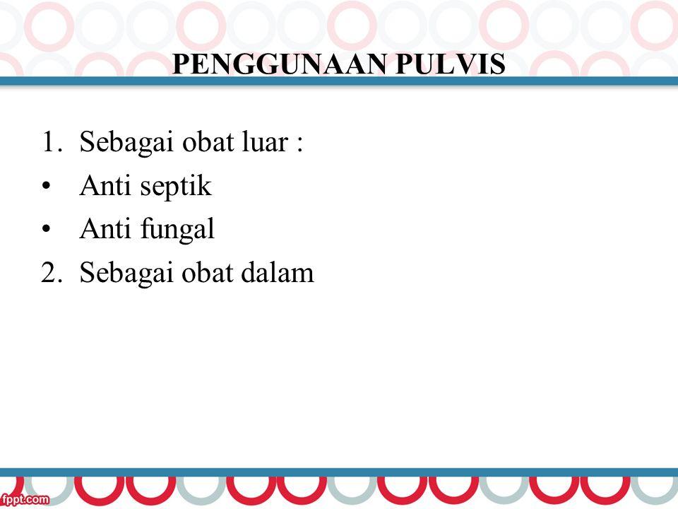 PENGGUNAAN PULVIS 1.Sebagai obat luar : Anti septik Anti fungal 2. Sebagai obat dalam