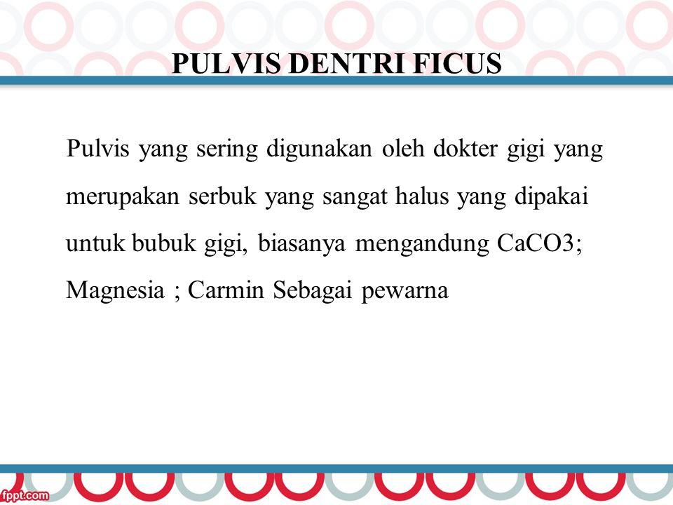 PULVIS DENTRI FICUS Pulvis yang sering digunakan oleh dokter gigi yang merupakan serbuk yang sangat halus yang dipakai untuk bubuk gigi, biasanya meng