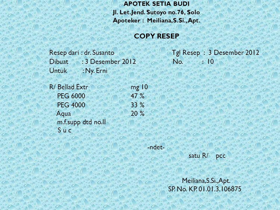 APOTEK SETIA BUDI Jl. Let.Jend. Sutoyo no.76, Solo Apoteker : Meiliana,S.Si., Apt. COPY RESEP Resep dari : dr. Susanto Tgl Resep : 3 Desember 2012 Dib