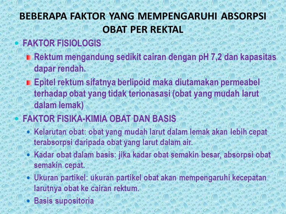 BEBERAPA FAKTOR YANG MEMPENGARUHI ABSORPSI OBAT PER REKTAL FAKTOR FISIOLOGIS Rektum mengandung sedikit cairan dengan pH 7,2 dan kapasitas dapar rendah
