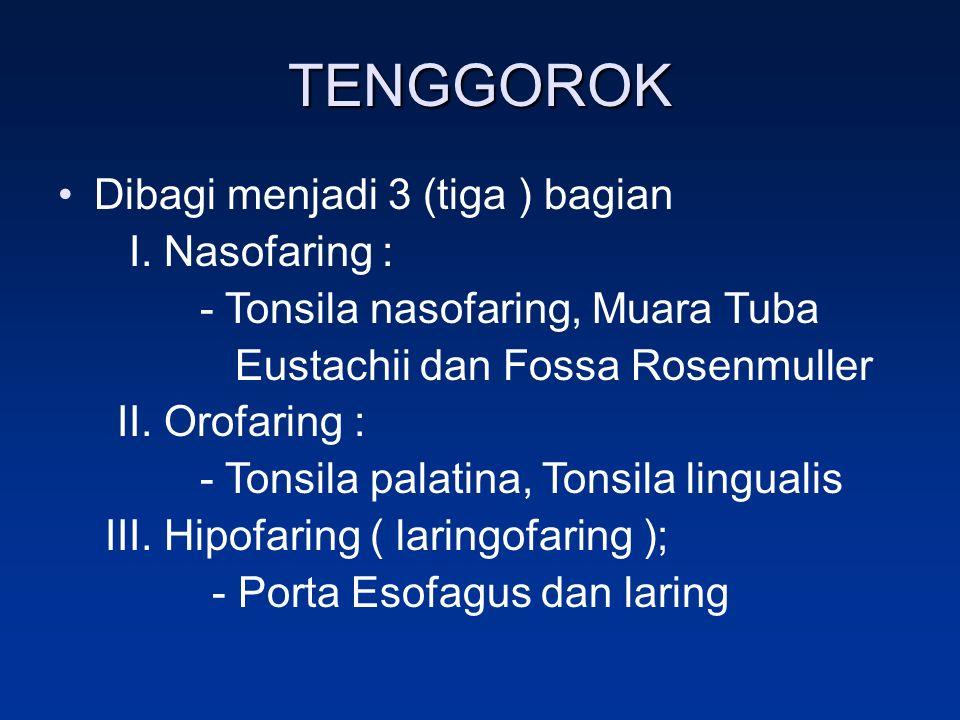 TENGGOROK Dibagi menjadi 3 (tiga ) bagian I. Nasofaring : - Tonsila nasofaring, Muara Tuba Eustachii dan Fossa Rosenmuller II. Orofaring : - Tonsila p
