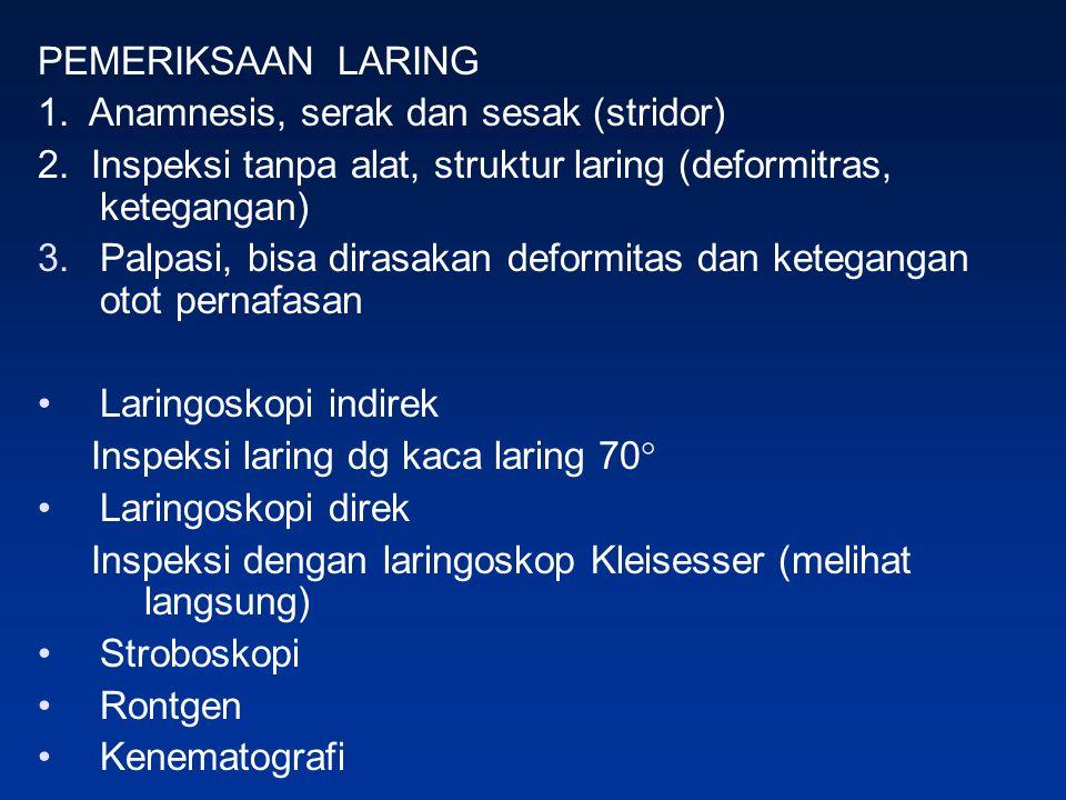 PEMERIKSAAN LARING 1. Anamnesis, serak dan sesak (stridor) 2.