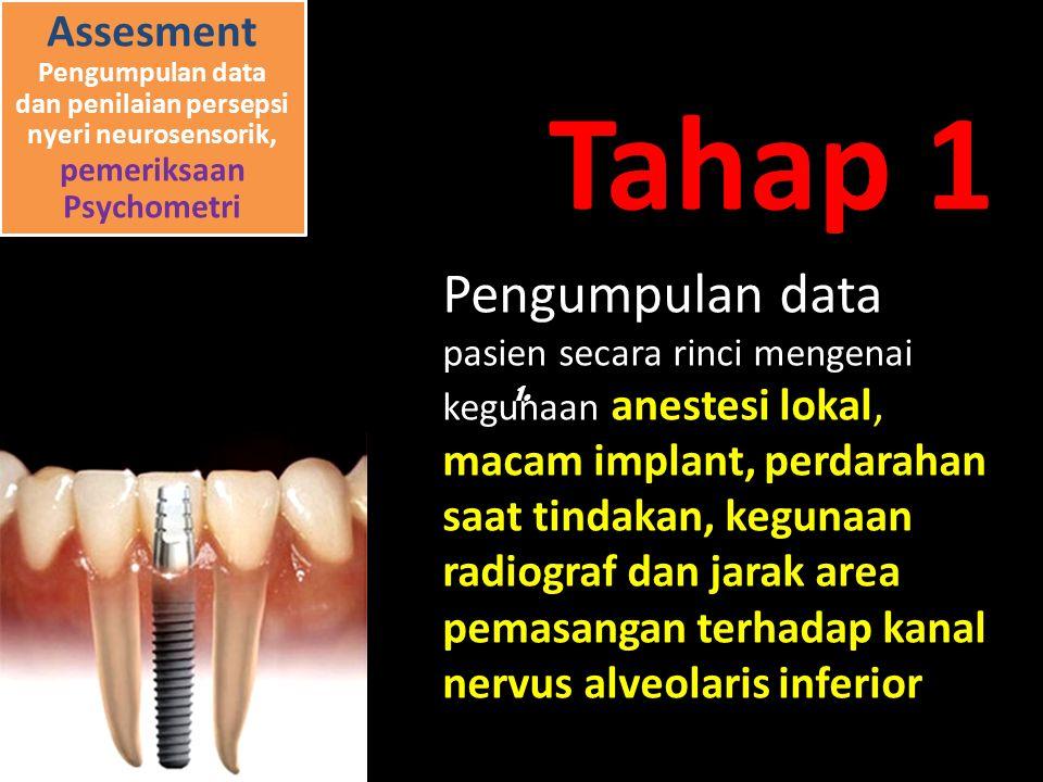 Pengumpulan data pasien secara rinci mengenai kegunaan anestesi lokal, macam implant, perdarahan saat tindakan, kegunaan radiograf dan jarak area pemasangan terhadap kanal nervus alveolaris inferior 1.