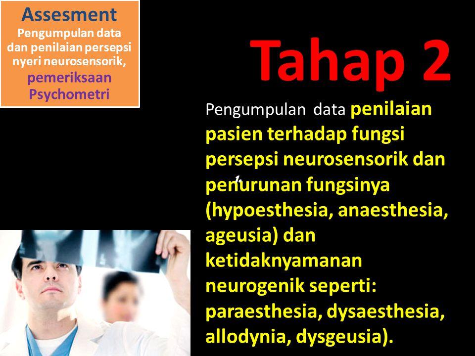 Assesment Pengumpulan data dan penilaian persepsi nyeri neurosensorik, pemeriksaan Psychometri Pengumpulan data penilaian pasien terhadap fungsi persepsi neurosensorik dan penurunan fungsinya (hypoesthesia, anaesthesia, ageusia) dan ketidaknyamanan neurogenik seperti: paraesthesia, dysaesthesia, allodynia, dysgeusia).
