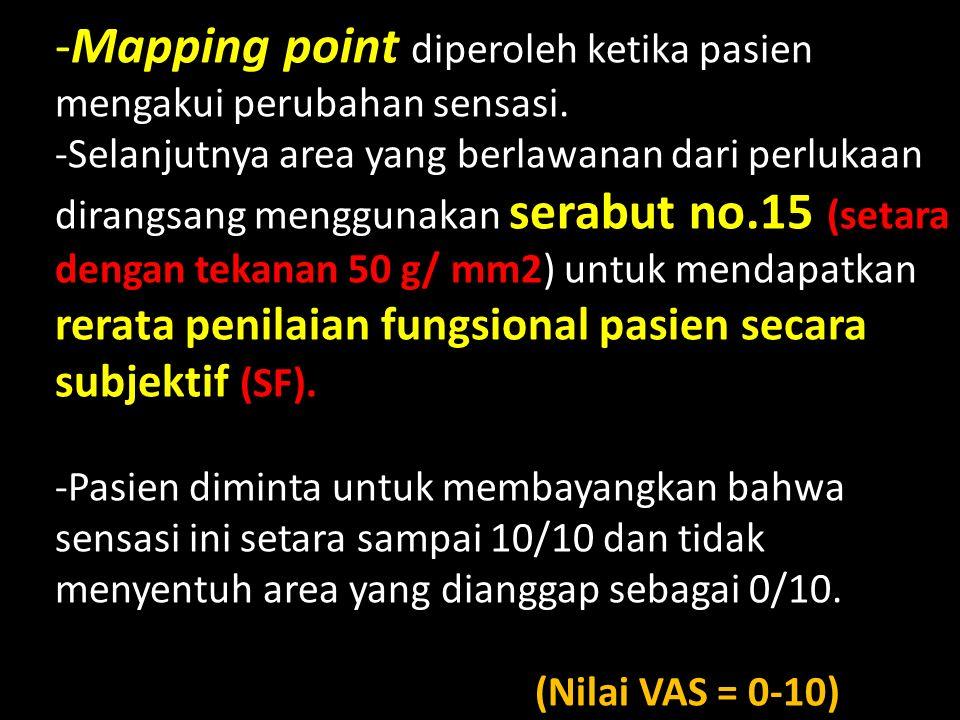 -Mapping point diperoleh ketika pasien mengakui perubahan sensasi.