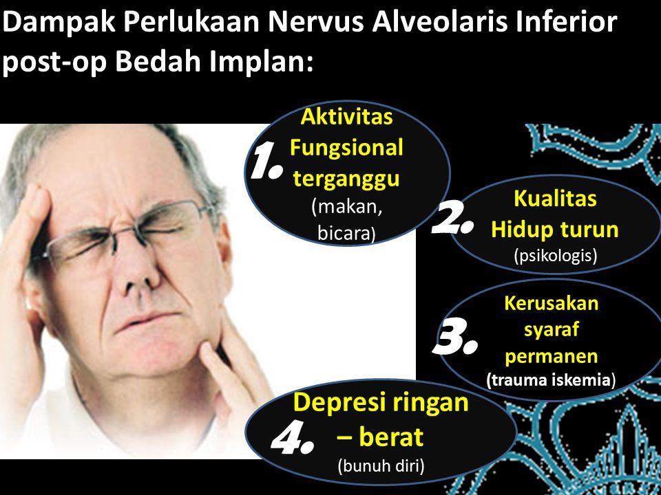 Dampak Perlukaan Nervus Alveolaris Inferior post-op Bedah Implan: Kualitas Hidup turun (psikologis) Kerusakan syaraf permanen (trauma iskemia) Depresi ringan – berat (bunuh diri) Aktivitas Fungsional terganggu (makan, bicara ) 1.