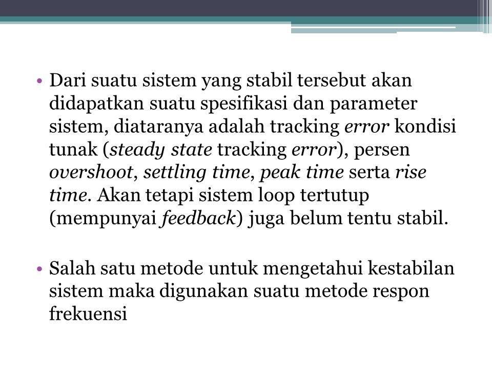 Dari suatu sistem yang stabil tersebut akan didapatkan suatu spesifikasi dan parameter sistem, diataranya adalah tracking error kondisi tunak (steady state tracking error), persen overshoot, settling time, peak time serta rise time.