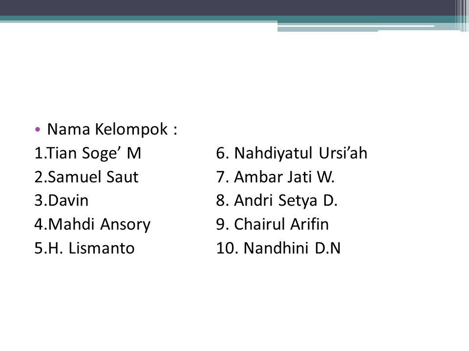Nama Kelompok : 1.Tian Soge' M6. Nahdiyatul Ursi'ah 2.Samuel Saut7. Ambar Jati W. 3.Davin8. Andri Setya D. 4.Mahdi Ansory9. Chairul Arifin 5.H. Lisman