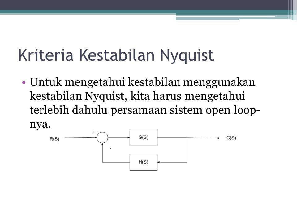 Kriteria Kestabilan Nyquist Untuk mengetahui kestabilan menggunakan kestabilan Nyquist, kita harus mengetahui terlebih dahulu persamaan sistem open loop- nya.