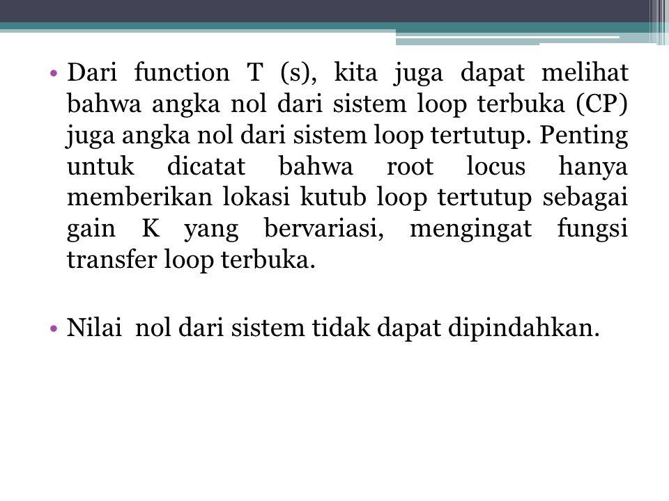 Dari function T (s), kita juga dapat melihat bahwa angka nol dari sistem loop terbuka (CP) juga angka nol dari sistem loop tertutup.