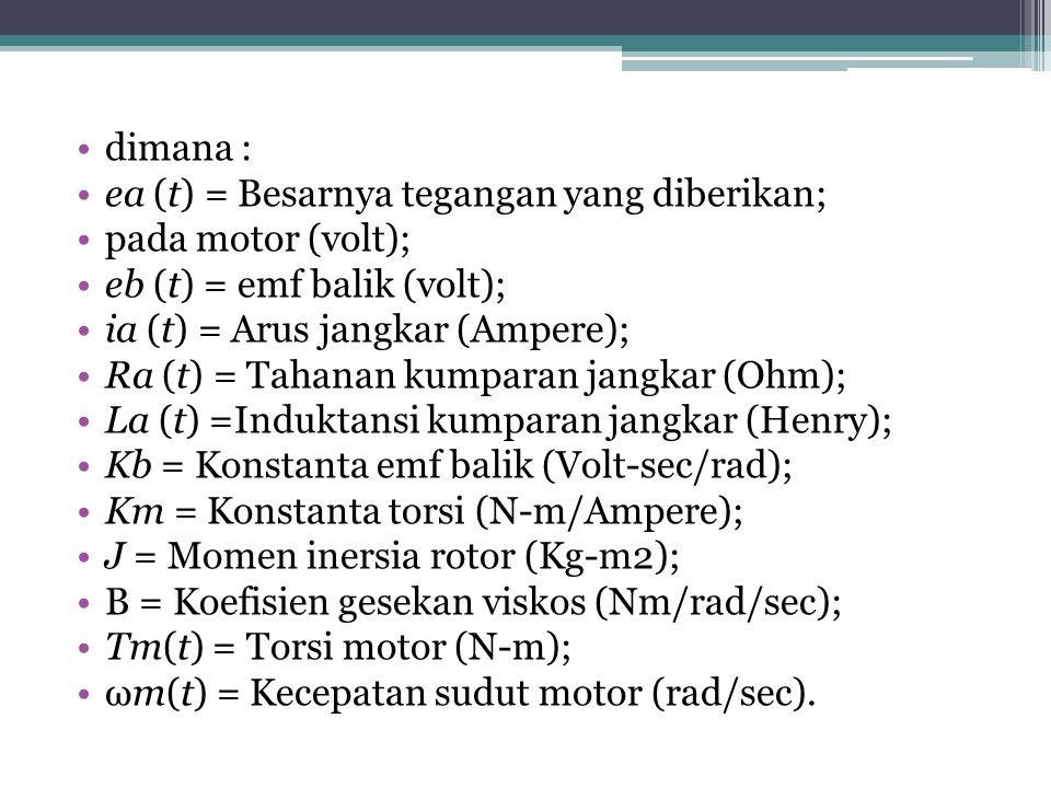 dimana : ea (t) = Besarnya tegangan yang diberikan; pada motor (volt); eb (t) = emf balik (volt); ia (t) = Arus jangkar (Ampere); Ra (t) = Tahanan kumparan jangkar (Ohm); La (t) =Induktansi kumparan jangkar (Henry); Kb = Konstanta emf balik (Volt-sec/rad); Km = Konstanta torsi (N-m/Ampere); J = Momen inersia rotor (Kg-m2); B = Koefisien gesekan viskos (Nm/rad/sec); Tm(t) = Torsi motor (N-m); ωm(t) = Kecepatan sudut motor (rad/sec).