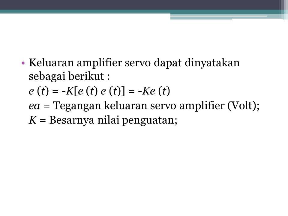 Keluaran amplifier servo dapat dinyatakan sebagai berikut : e (t) = -K[e (t) e (t)] = -Ke (t) ea = Tegangan keluaran servo amplifier (Volt); K = Besarnya nilai penguatan;