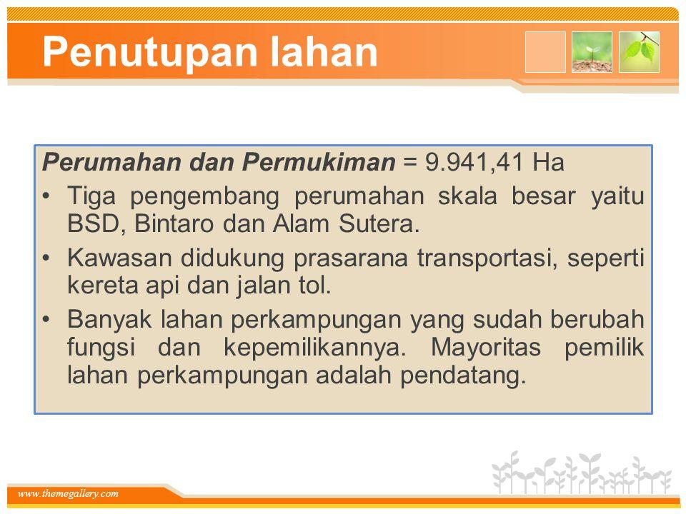 www.themegallery.com Penutupan lahan Perumahan dan Permukiman = 9.941,41 Ha Tiga pengembang perumahan skala besar yaitu BSD, Bintaro dan Alam Sutera.