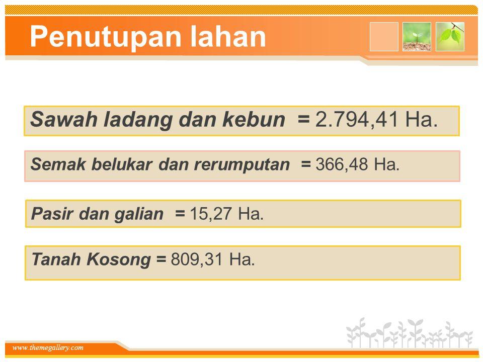www.themegallery.com Penutupan lahan Sawah ladang dan kebun = 2.794,41 Ha. Semak belukar dan rerumputan = 366,48 Ha. Pasir dan galian = 15,27 Ha. Tana