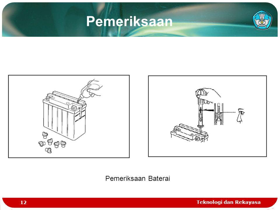Teknologi dan Rekayasa 12 Pemeriksaan Baterai Pemeriksaan