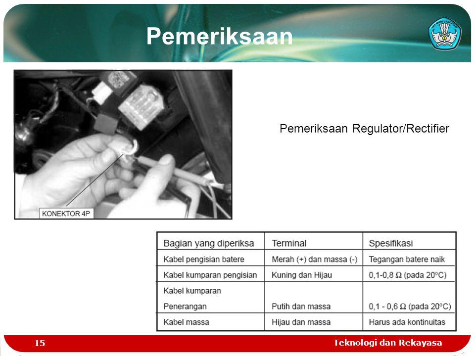 Teknologi dan Rekayasa 15 Pemeriksaan Regulator/Rectifier Pemeriksaan