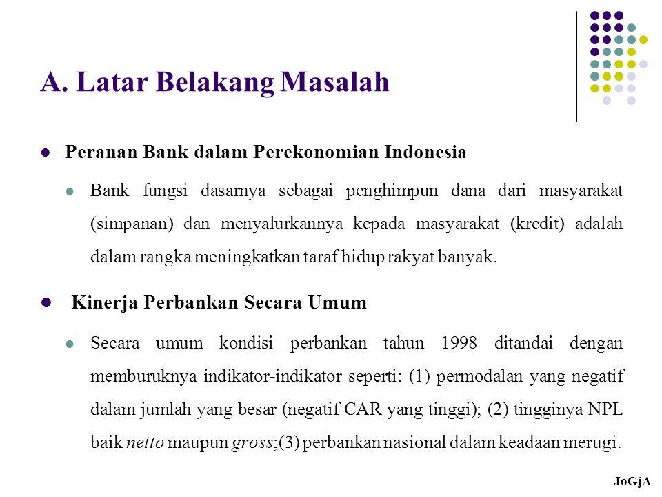 A. Latar Belakang Masalah Peranan Bank dalam Perekonomian Indonesia Bank fungsi dasarnya sebagai penghimpun dana dari masyarakat (simpanan) dan menyal