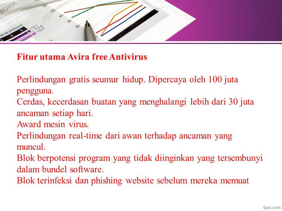 Fitur utama Avira free Antivirus Perlindungan gratis seumur hidup.