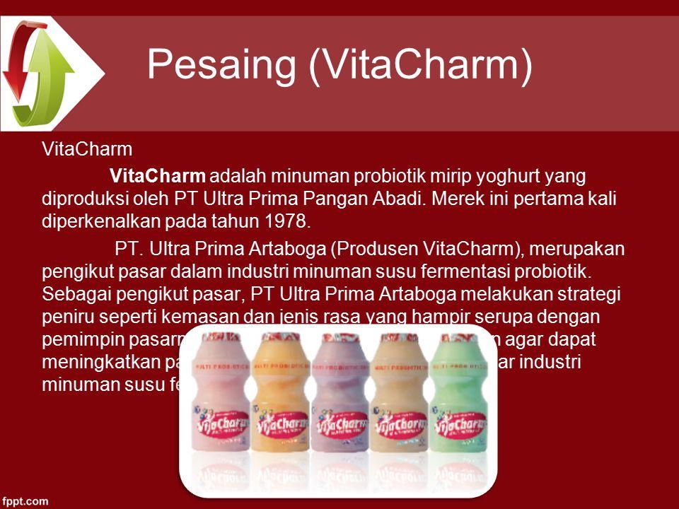 Pesaing (VitaCharm) VitaCharm VitaCharm adalah minuman probiotik mirip yoghurt yang diproduksi oleh PT Ultra Prima Pangan Abadi.
