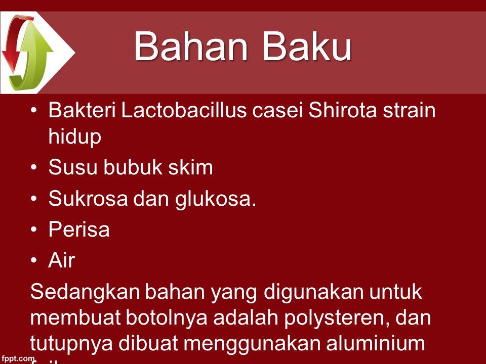 Bahan Baku Bakteri Lactobacillus casei Shirota strain hidup Susu bubuk skim Sukrosa dan glukosa. Perisa Air Sedangkan bahan yang digunakan untuk membu