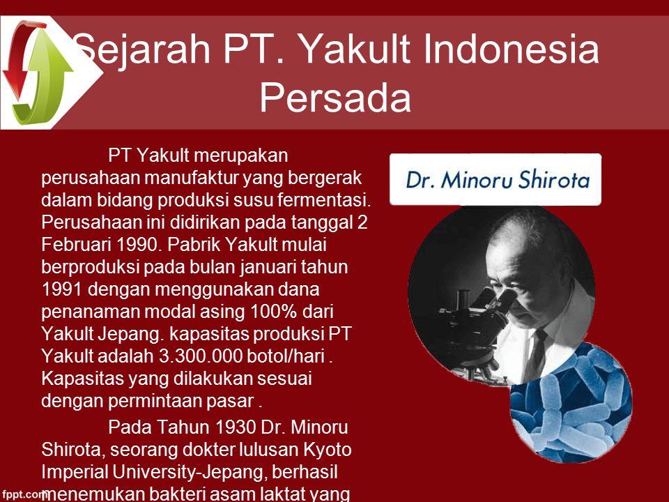 Sejarah PT. Yakult Indonesia Persada PT Yakult merupakan perusahaan manufaktur yang bergerak dalam bidang produksi susu fermentasi. Perusahaan ini did