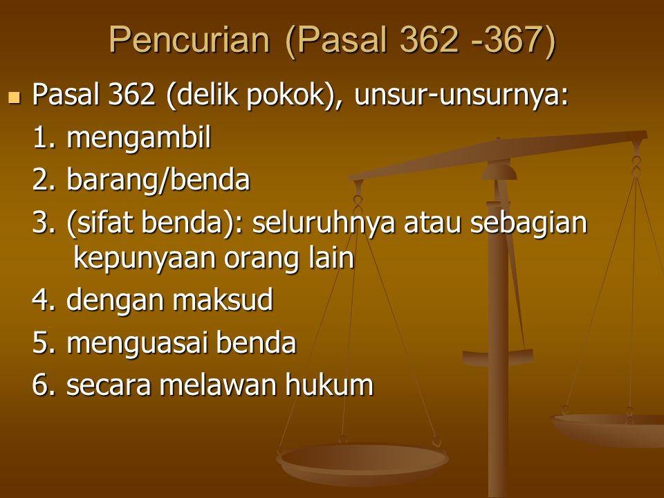 Pencurian (Pasal 362 -367) Pasal 362 (delik pokok), unsur-unsurnya: Pasal 362 (delik pokok), unsur-unsurnya: 1. mengambil 2. barang/benda 3. (sifat be