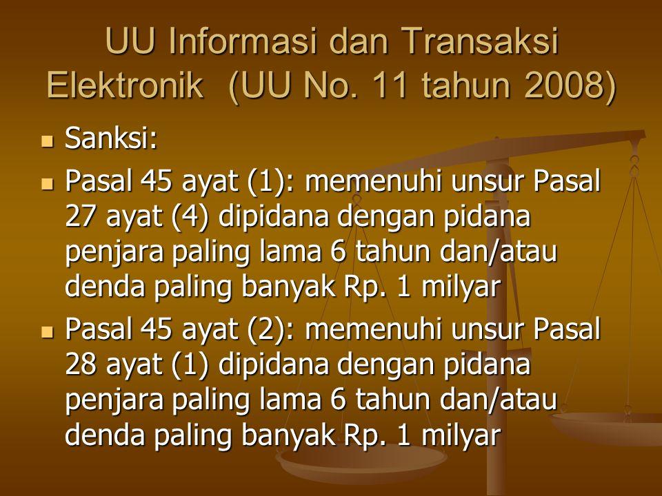 UU Informasi dan Transaksi Elektronik (UU No. 11 tahun 2008) Sanksi: Sanksi: Pasal 45 ayat (1): memenuhi unsur Pasal 27 ayat (4) dipidana dengan pidan